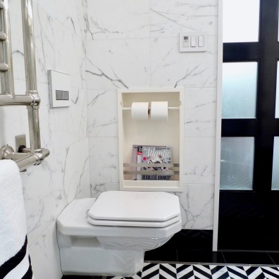 Wall mounted toilet with recessed caddy