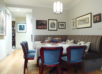 The dining room looking towards the master bedroom