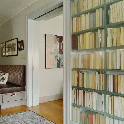 The dining room side of the bookcase