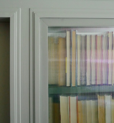 Detail of the glass-backed bookcase