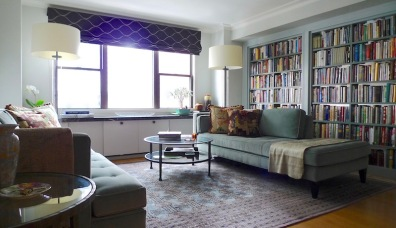 Aari and Barbara's West Village living room after a gut renovation joined two apartments