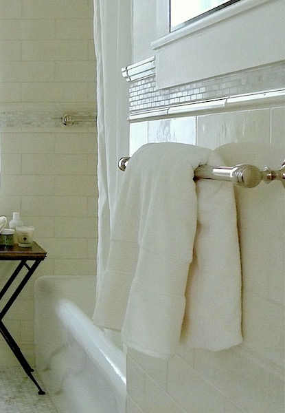 Polished nickel towel bars, mosaic border