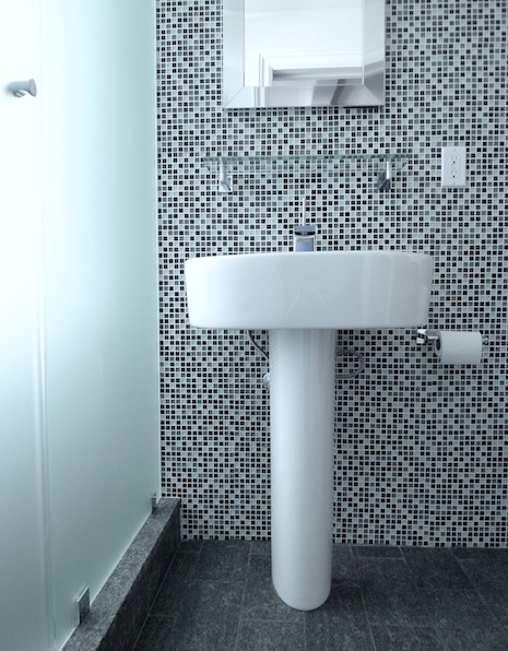 Frosted glass shower enclosure and mosaic feature wall