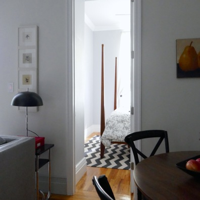 Pale grey paint unifies the central space