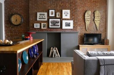 After: A sleek slate fireplace surround