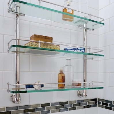 Metal rim on glass shelves prevent items from falling off