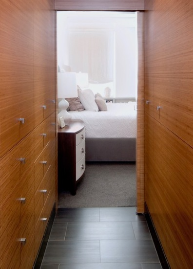 Bamboo is a moisture-tolerant choice for a dressing room / bathroom.