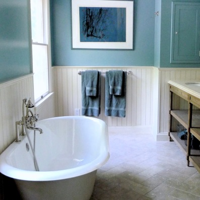 Almost any shade of blue-green works for a bathroom.