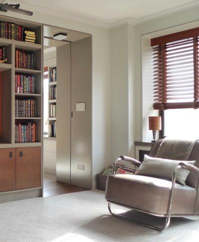 Deep doorway with pocket door to the bedroom