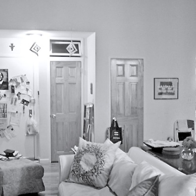 Kara's living space before: a set of awkwardly mismatched door heights