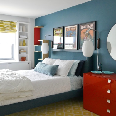 The client's gloss orange dresser was one of only two pieces of furniture they kept.